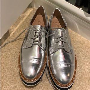 Silver platform Atlantic Pacific derby shoes